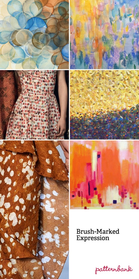 BRUSH MARKED EXPRESSION TREND: Art hand paint forms – Brush dab pattern – Pattern build up through abstract paint textures – Pointillist painter inspired looks – Mixed scale brush work – Delicate brushed pattern