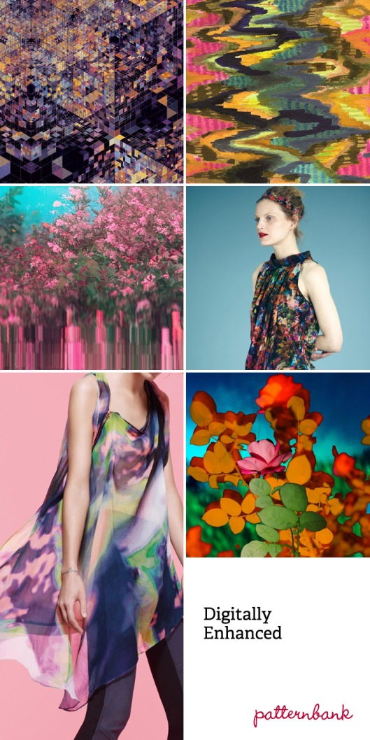 DIGITALLY ENHANCED TREND: Pop Art inspired half-tone dots – Futuristic florals hidden amongst complex geometry – Textural and photographic overlays – painterly abstract multicolor imagery - Photoshop blurred zig zags – Photoshop filters create complex fading in and out of colour
