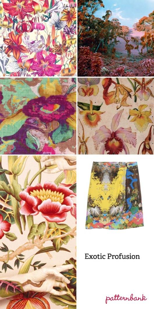 EXOTIC PROFUSION TREND: Colour explosion – Exotic flauna mixes – Rainforest blooms – Digital and watercolour effect mixes – High contrast prints – Neon brights – Bird of paradise and orchid floral studies – Pattern overlays