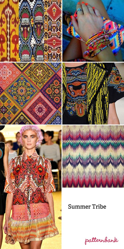 SUMMER TRIBE TREND: Abstracted Ikat Designs – Simplified Ikat – Optical Patterns – Vibrant Colour Enhanced Ethnic Compositions – Mixed Stripes And Pattern Forms – Blurred Felt-tip Pen Visuals – Multi-coloured Traditional Ikat Motifs