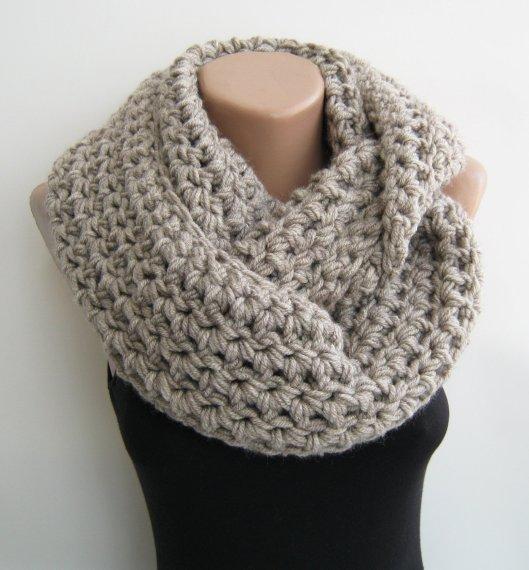 Azime Chunky Handknit scarf in Oatmeal, $37