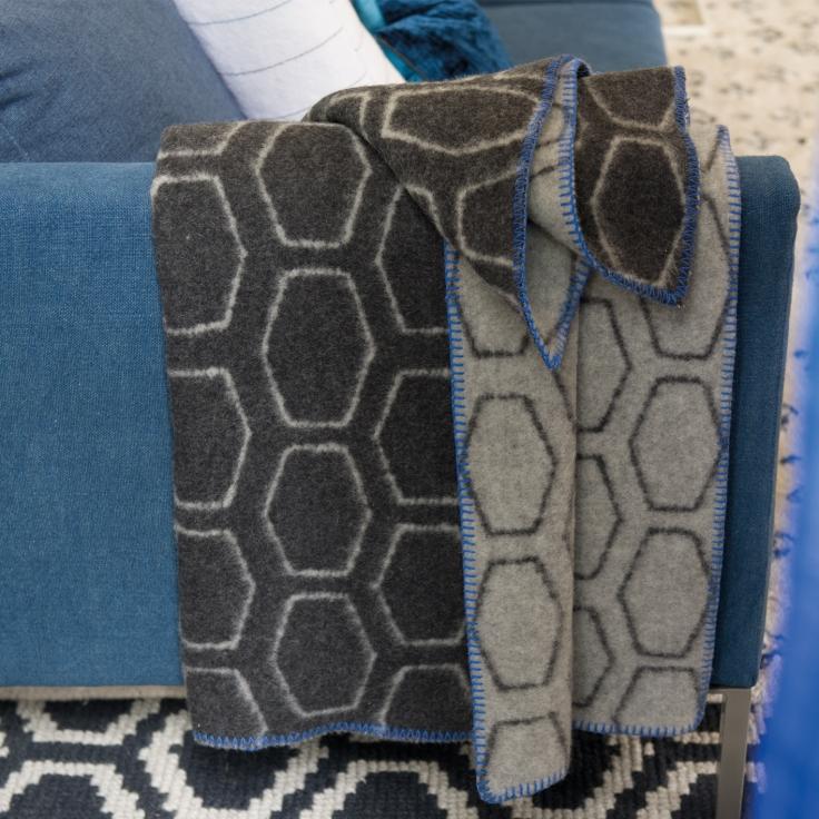 Designers Guild Giuliano Graphite Blanket, $225