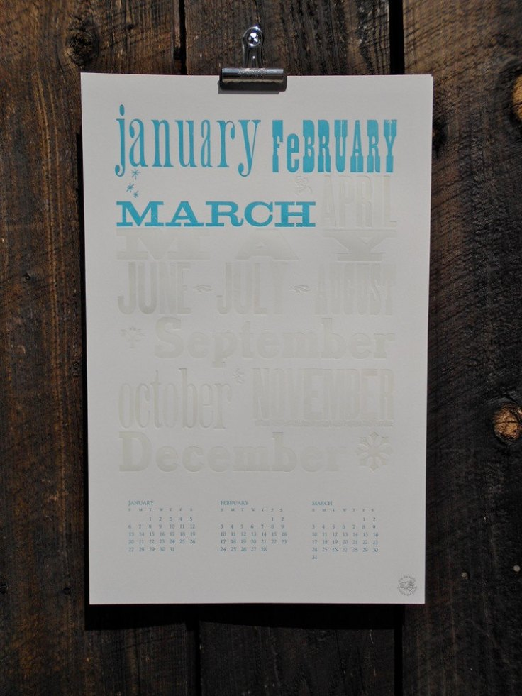 May Day Studio Letterpress Calendar, $30