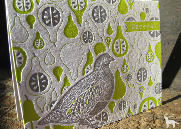 Paisley Dog Press - Partridge and Pears, $4 each