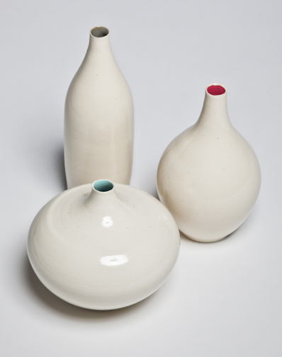 Irene Collection Vases - love the little pop of color!