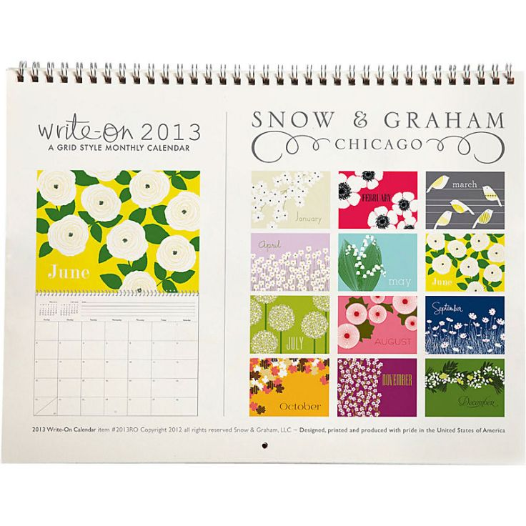 Snow and Graham Grid Calendar (detail)