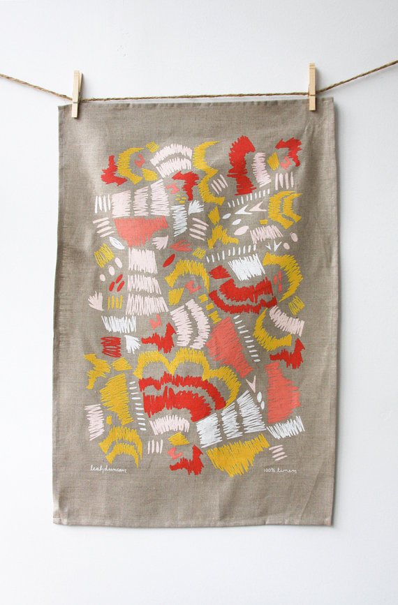 Leah Duncan - Scribble Linen Tea Towel, $26