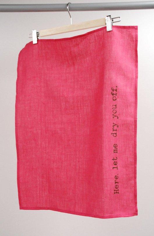 Manus Made - Pink Linen Tea Towel, $20