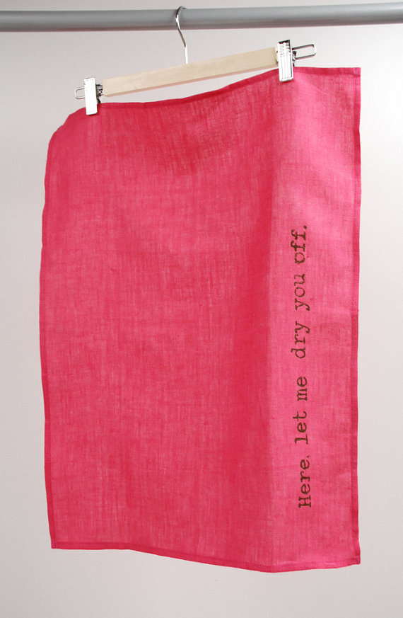 Manus Made - Pink Linen Tea Towel, $20