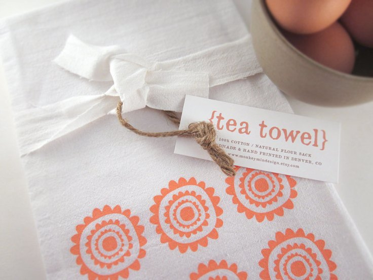 Monkeymindesign - Screen Printed Tea Towel, $10