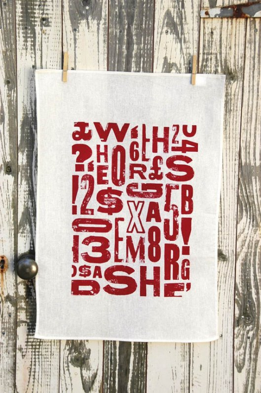 Print Shack - Typography Tea Towel, $17.95
