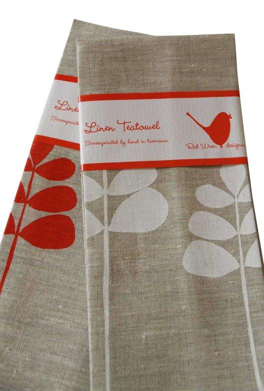 Red Wren Designs - Unbleached Linen Tea Towel, $22.50