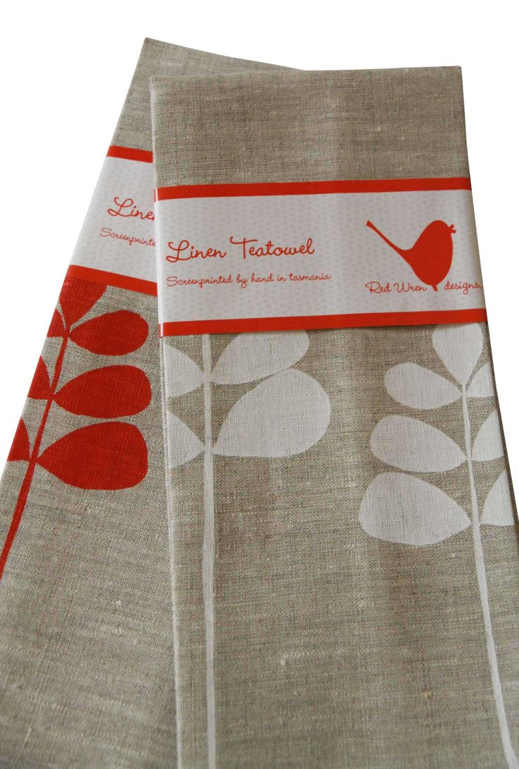 Red Wren Designs - Unbleached Linen Tea Towel, $22.50