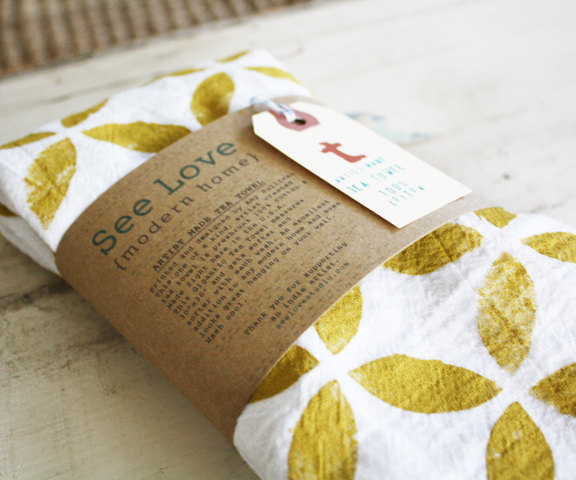 See Love - Cotton Handprinted Tea Towel, $18
