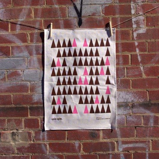 """Spin Spin - Linen """"Tree"""" Tea Towel"""