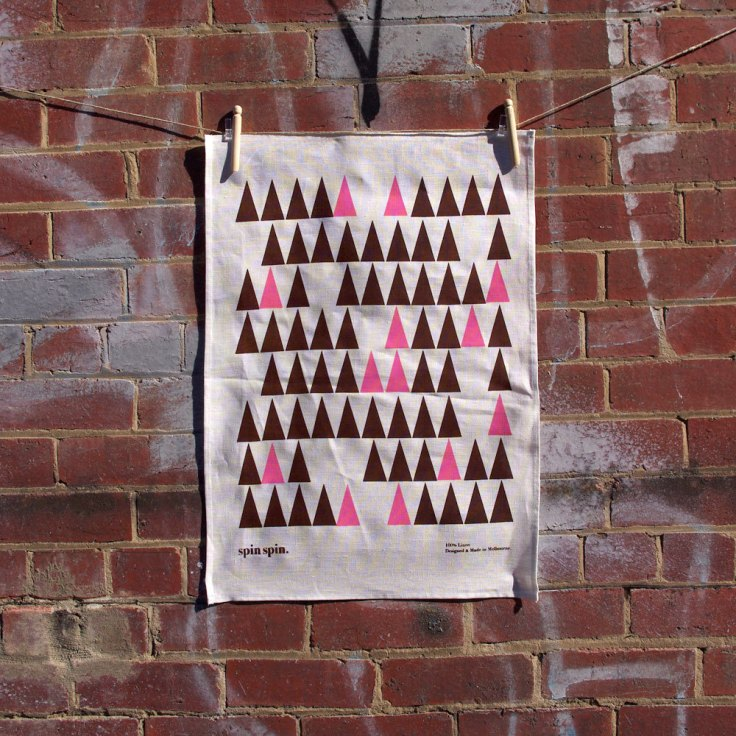 "Spin Spin - Linen ""Tree"" Tea Towel"