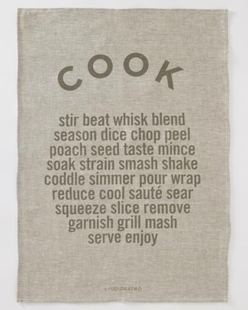 """StudioPatro - Linen """"Cook"""" Tea Towel, $24"""