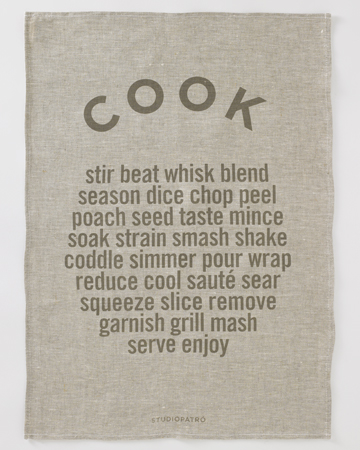 "StudioPatro - Linen ""Cook"" Tea Towel, $24"