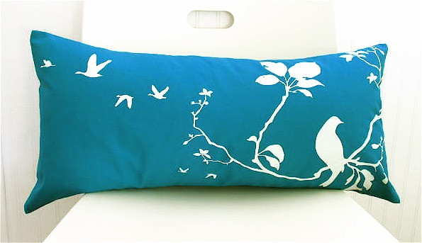Teal Flying By Pillow, $30