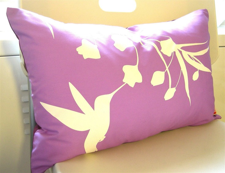 Lavender Hummingbird Pillow, $28
