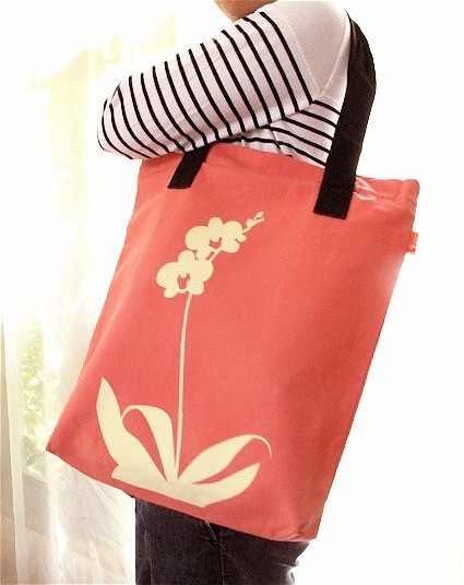 Orange Orchid Tote Bag, $25