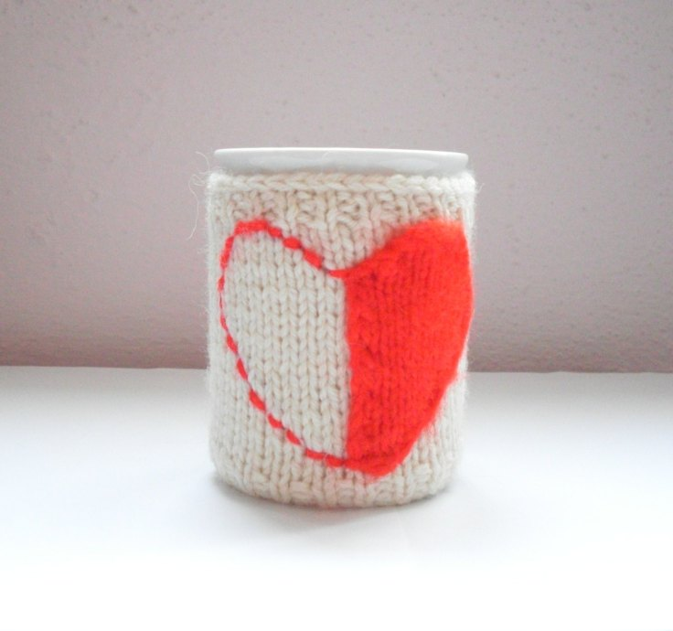 The Knitting Sea - Red Heart Cup Warmer, $11