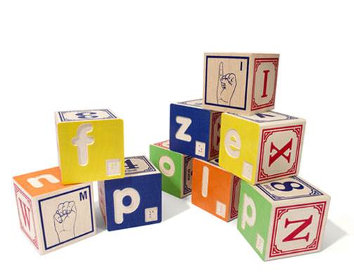 Braille with Sign Language Blocks, $39
