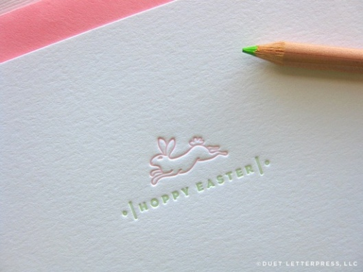 Duet Letterpress - Hoppy Easter Card