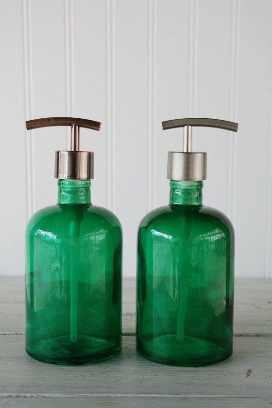 Green glass bathroom accessories for Green glass bath accessories
