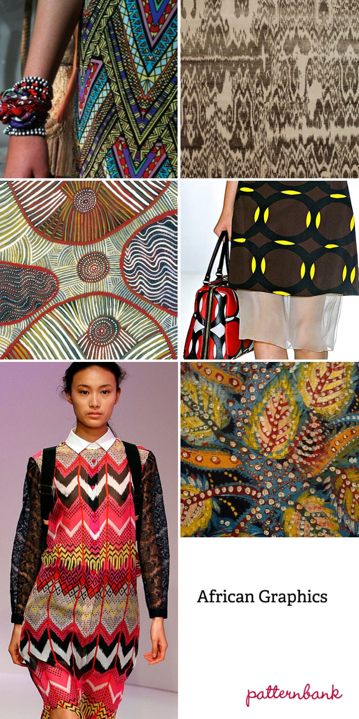 African graphic impact ~ Tribal abstracts & geometric elements ~ Linear build ups ~ clashing repeats ~ Border and placed pattern ~ Painterly effects ~ Outline graphic art ~ Two tone effects ~ Batik and block print textures ~ Bold colour usage