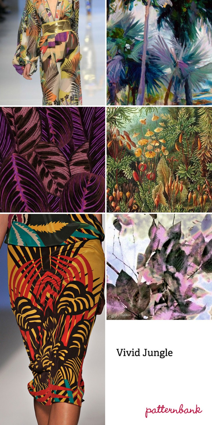 Tropical vegetation focus ~ Photo-real jungle scenes ~ Micro and large-scale tropical flower studies ~ Watercolour textural effects ~ Symmetrical prints ~ Fern leaf overlap pattern forms ~ Engineered tropical placements ~ Distorted jungle prints