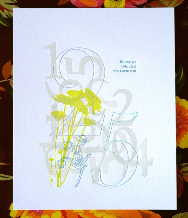Patience Limited Edition Letterpress Print, $60