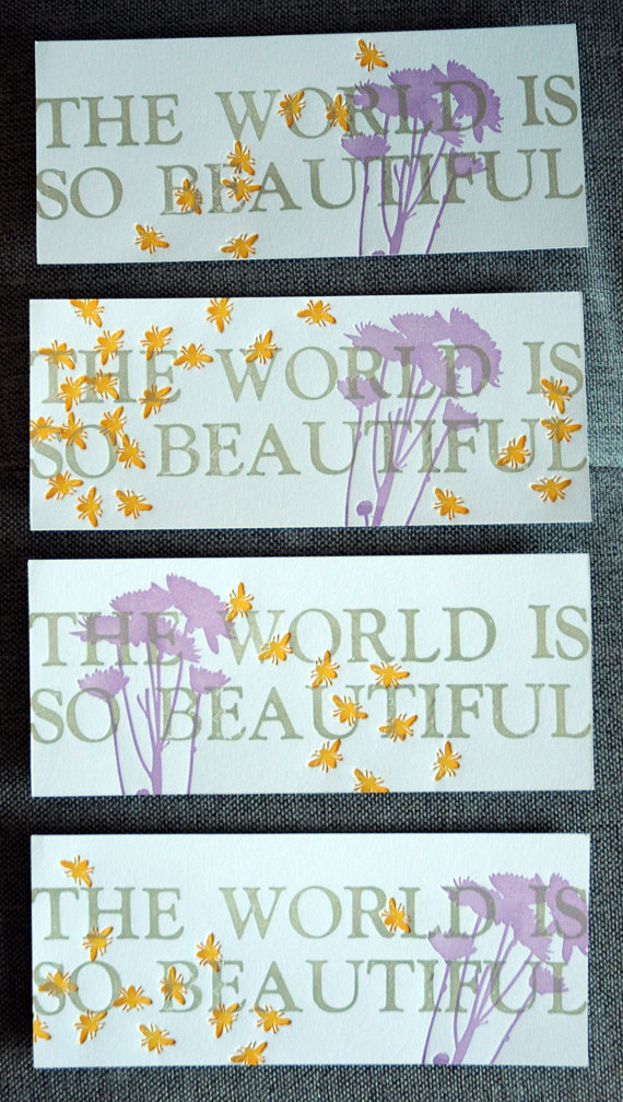 The World is So Beautiful Letterpress Print, $25
