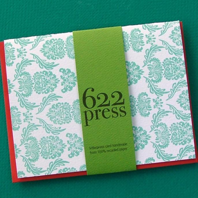Robin's Egg Damask Letterpress Note Card, $3.50