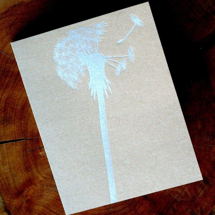 Silver Dandelion Letterpress Note Card, $3
