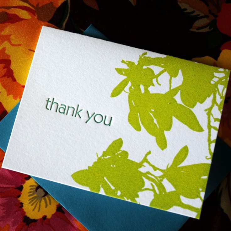 Green Magnolia Letterpress Thank You Note, $3.50