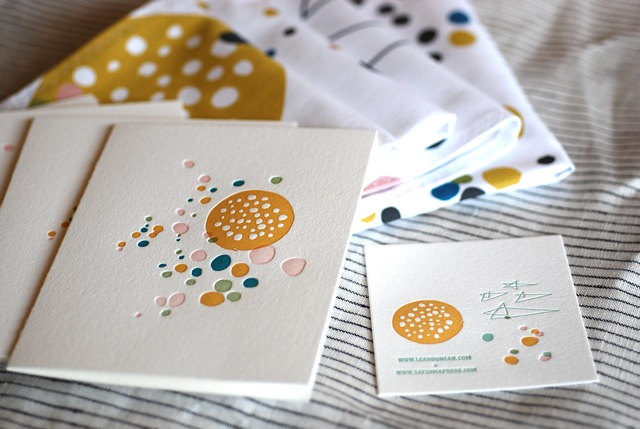 Set of 2 letterpressed cards (in collaboration with Satsuma Press), $10