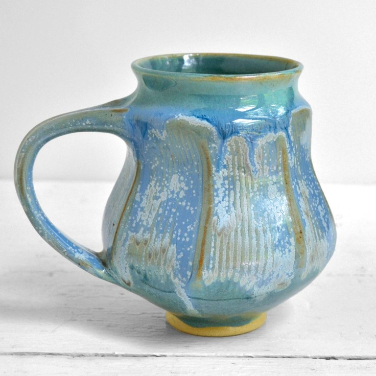 Faceted Ice Blue Mug, $30