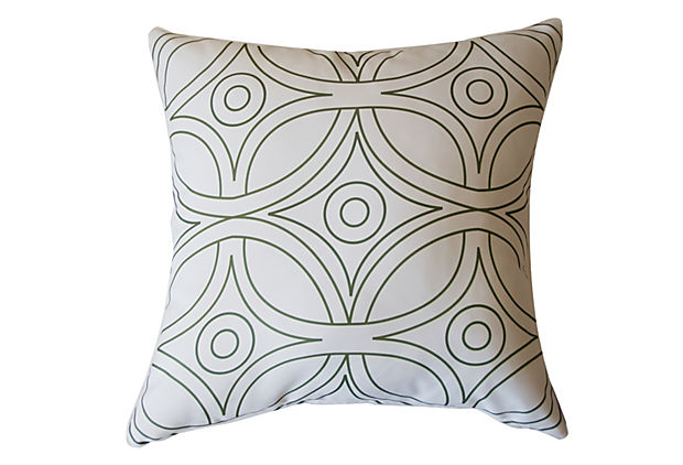 "Divine Designs - Geo 20"" Outdoor Pillow, $45"