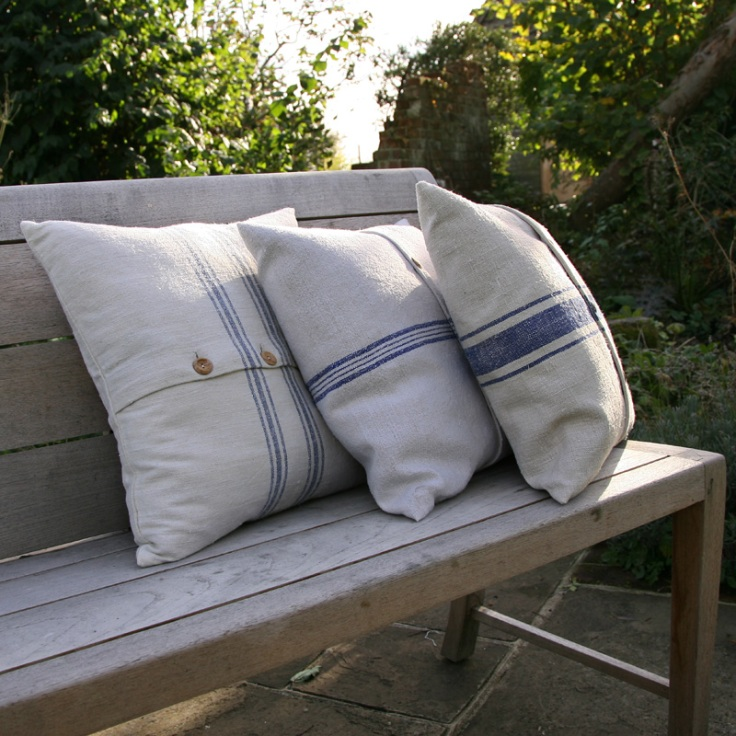 Hen and Hammock - 45cm Vintage Linen Cushion, £55.00