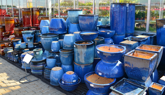 Blue Ceramic Pots, prices vary