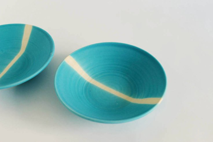 Set of 2 small ceramic bowl-plates, $80