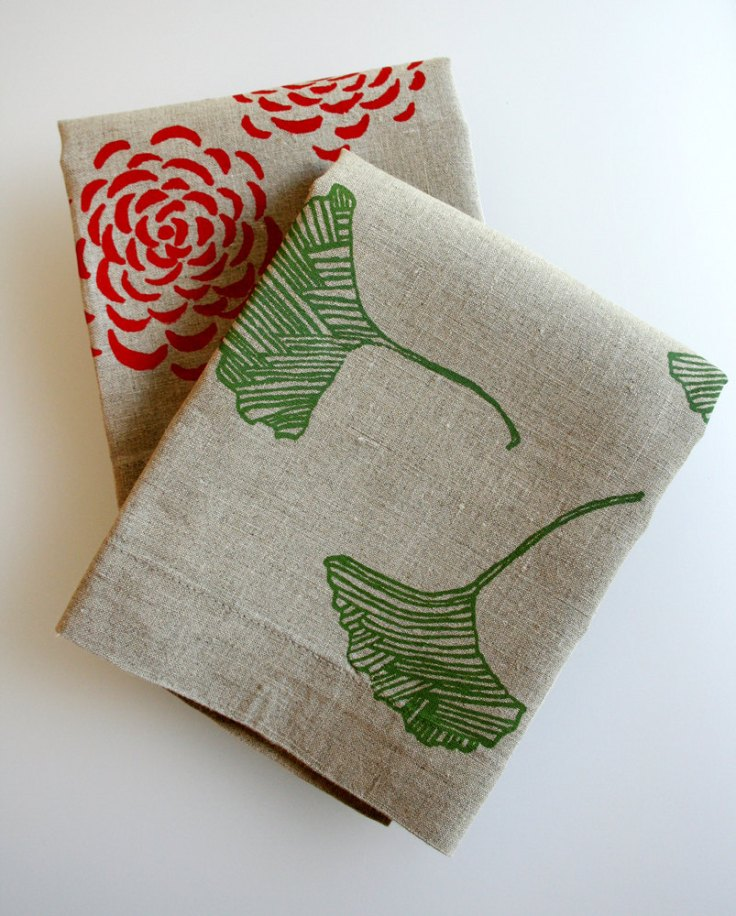 Pony and Poppy - Gift Set of Two Rustic Linen Handprinted Tea Towels, $30