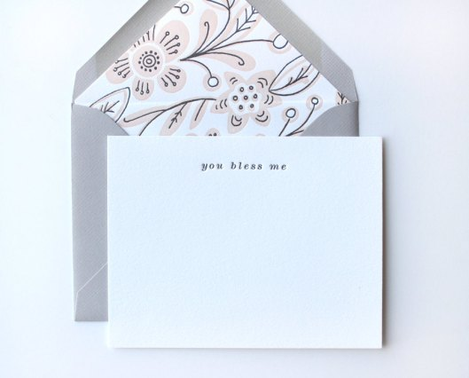 You Bless Me Letterpress Flat Card with lined envelope, $6