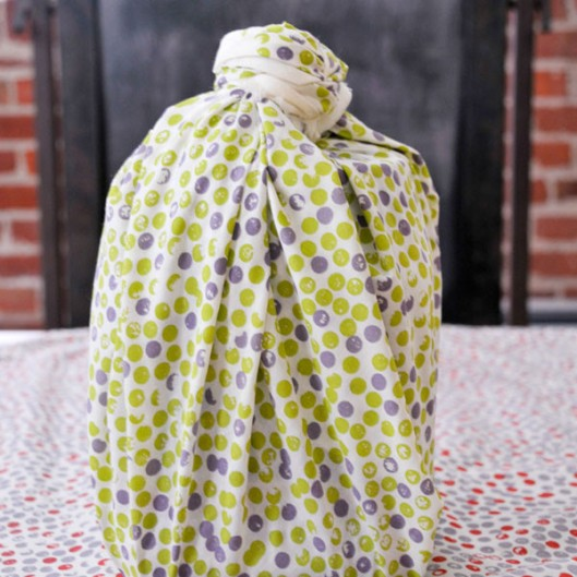 """Organic Cotton Reusable """"Give Wrap"""" printed with soy inks, 28"""" x 28"""", Dots, $17"""