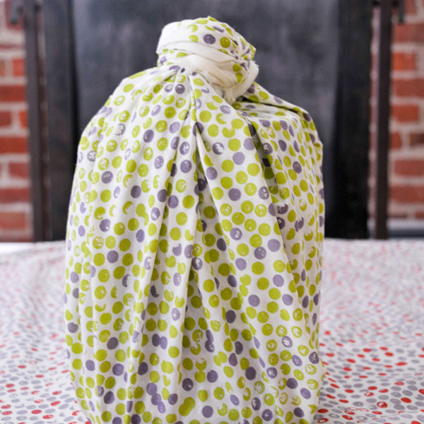 "Organic Cotton Reusable ""Give Wrap"" printed with soy inks, 28"" x 28"", Dots, $17"