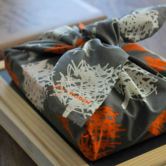 """Organic Cotton Reusable """"Give Wrap"""" printed with soy inks, 28"""" x 28"""", Trees, $17"""