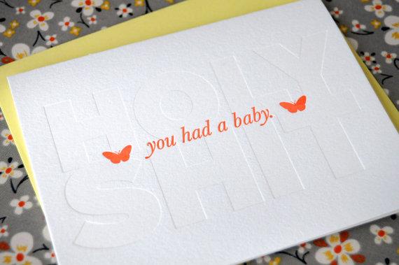 Baby Letterpress Card, $5