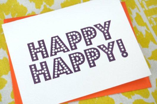 Happy Happy Letterpress Card, $5