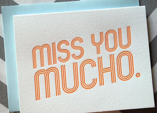 Miss You Mucho Letterpress Card, $5
